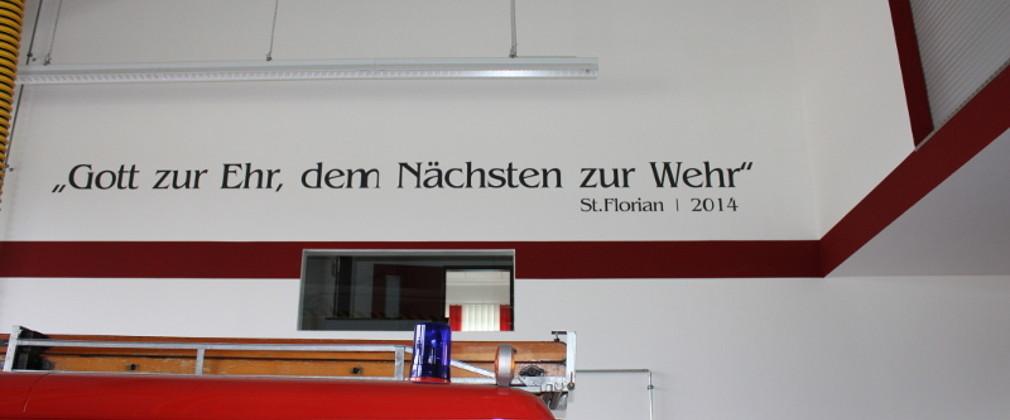 Banner im Gerätehaus